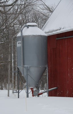 The contrary grain bin has been repaired