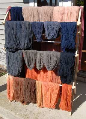Orange and blue dyed yarn