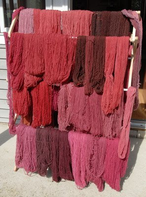 Red dyed yarn