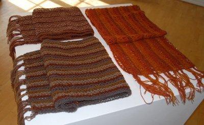 Scarves from Kirsten's mushroom dyed yarn