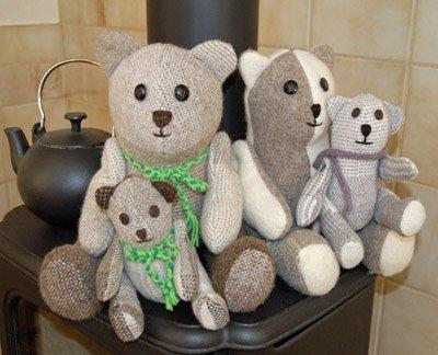 Hand woven and sewn bears