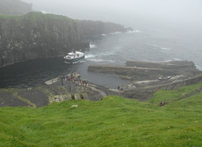 Ferry landing at Mykines