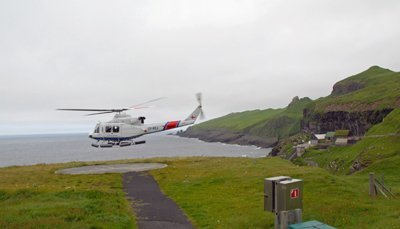 Helicopter taking off from Mykines