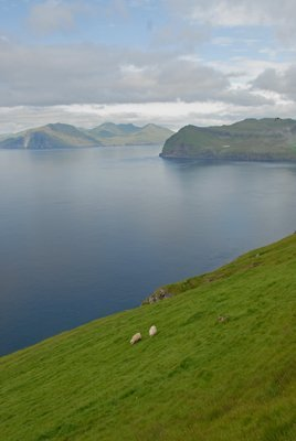 western coast of Streymoy, with the island of Vagar to the left