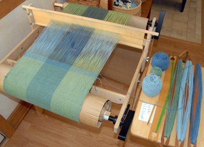 Weaving with Indigo dyed and over-dyed yarns from the workshop