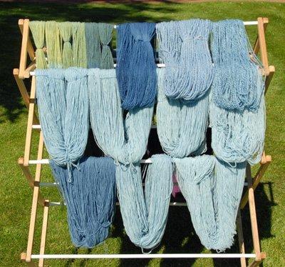 Various shades of blue yarn