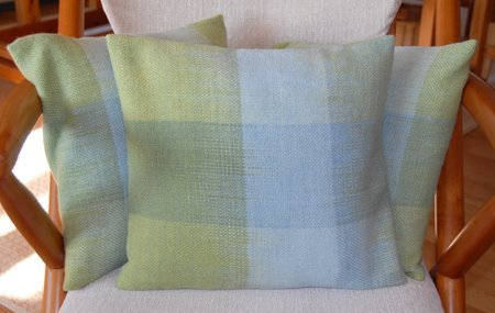 Handwoven pillows with indigo dyed yarn