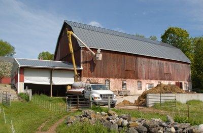 power washing the barn