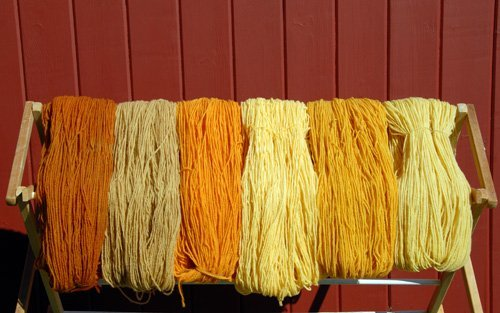 Yarn with 3 different dye materials