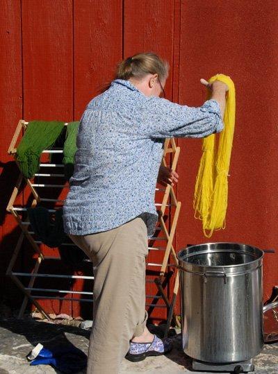 yellow into the indigo dye bath