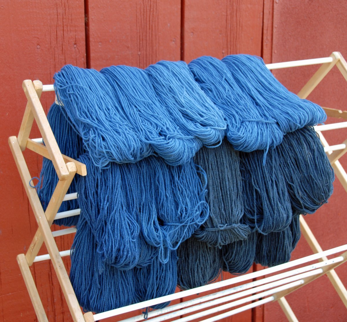 Yarn drying just after being dyed