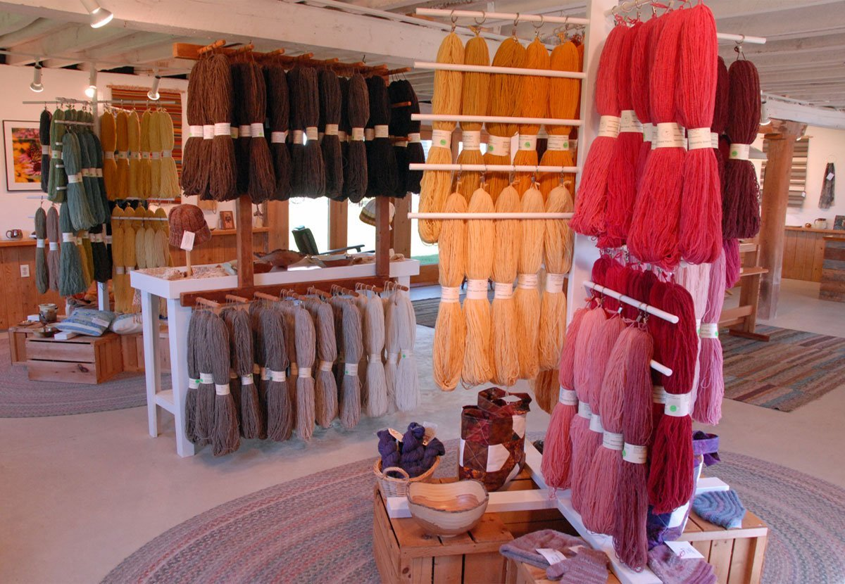 Display of yarn for sale in Whitefish Bay Farm Gallery