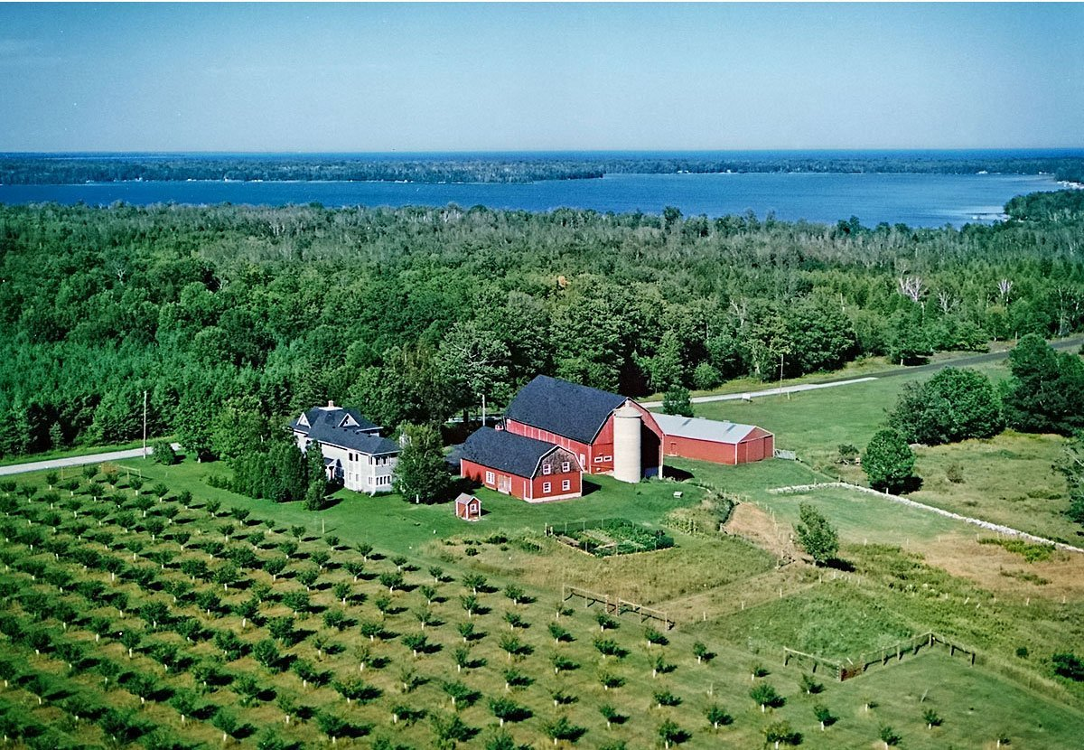 View from the air of the B&B and farm