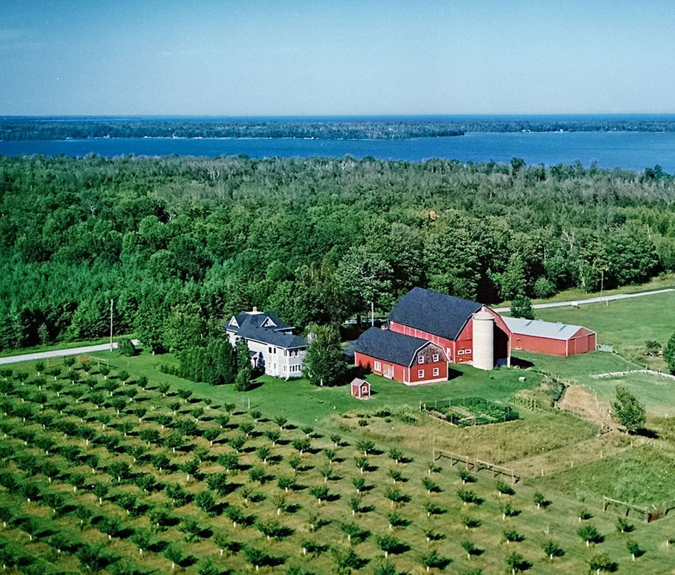 View of Whitefish Bay Farm and B&B from the air