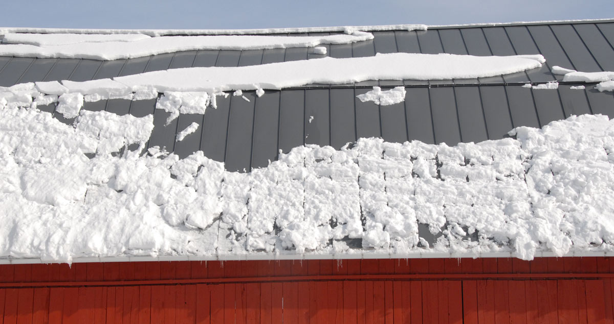 Snow patterns on the barn roof on February 28th